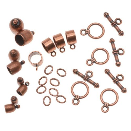 (Beadsmith Antiqued Copper Bullet Findings For Kumihimo Braids - 4 Assorted)