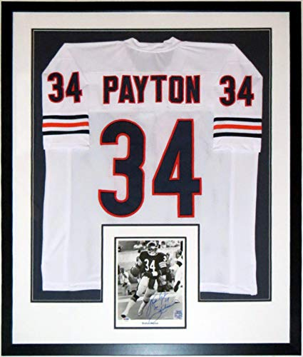 b9d5742156c Walter Payton Signed Chicago Bears 8x10 Photograph & Sweetness Inscription  with Throwback Jersey - PSA DNA COA Authenticated - Professionally Framed  34x42