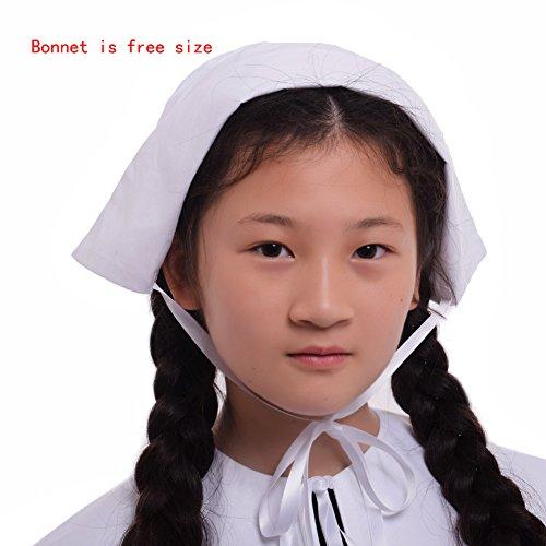 GRACEART Pilgrim Pioneer Colonial Girl Costume Accessories 100% Cotton Apron & Bonnet (US Size-06,Bonnet & Apron) by GRACEART (Image #4)