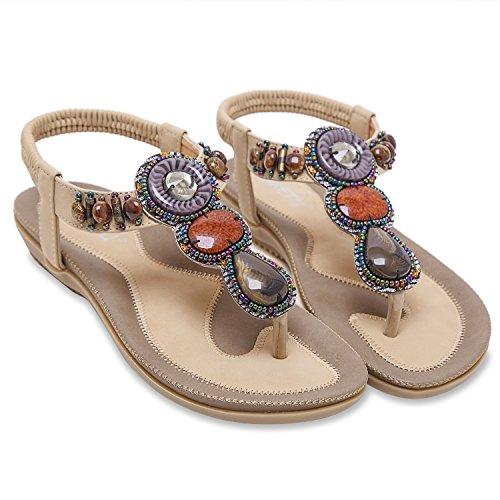 Respirant Confortable Été En Chaussures Sandales Flip Zoerea Flat Femme Cuir Flops Beige Et TYxFWa