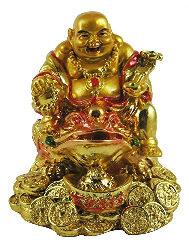 (Creativegifts feng Shui Laughing Buddha on Money Frog for Health, Wealth and Happiness(8 X 6 X 4)