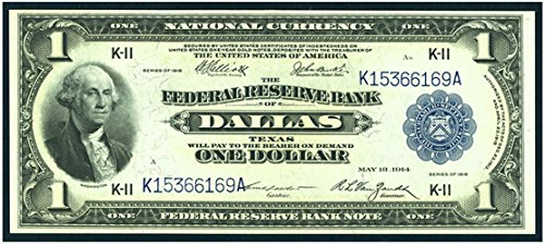 1918 K-11 (Dallas) VERY RARE LARGE SIZE 1918 DALLAS FEDERAL RESERVE BANK NOTE! CHOICE CRISP UNCIRCULATED! $1 Choice Crisp Uncirculated