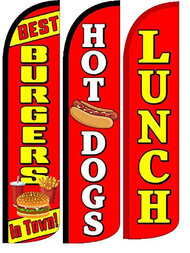 Best Burgers In Town, Hot Dogs, Lunch Standard Windless Swooper Flags With Pole Kit-Pack of 3 by OnPoint Wares