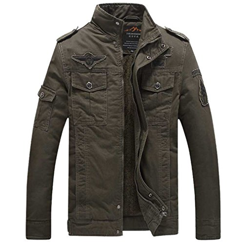 winter NEW bomber jacket men Military jackets Mens coats Army Jackets mens coat velvet green 8333 L