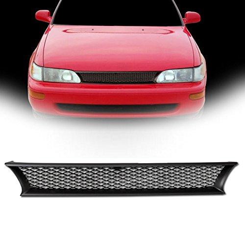 VXMOTOR for 1993-1997 Toyota Corolla - Matte Black JDM Sport Mesh Front Hood Bumper Grill Grille Cover Conversion ()