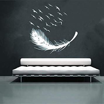 Amazon Com Tuscom Multicolor Feather Removable Wall Decal Home