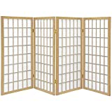 Oriental Furniture 3 ft. Tall Window Pane Shoji Screen - Natural - 4 Panels