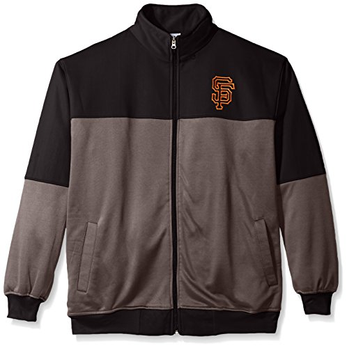 Profile Big & Tall MLB San Francisco Giants Men's Poly Fleece Yoked Track Jacket with Wordmark Logo, 4X, Black/Gray (Giants San Francisco Jacket)