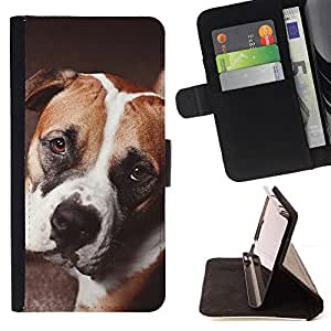 Boxer Terrier Boston French Bulldog - Painting Art Smile Face Style Design PU Leather Flip Stand Case Cover FOR Sony Xperia Z1 Compact D5503 @ The Smurfs