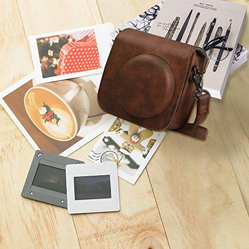 Fintie Protective Case for Fujifilm Instax Mini 8 Mini 8+ Mini 9 Instant Camera - Premium Vegan Leather Bag Cover with Removable Strap, Vintage Brown