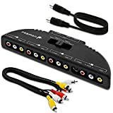 Fosmon Technology 4-Way Audio / Video RCA Switch Selector / Splitter Box & AV Patch Cable for Connecting 4 RCA Output Devices to Your TV