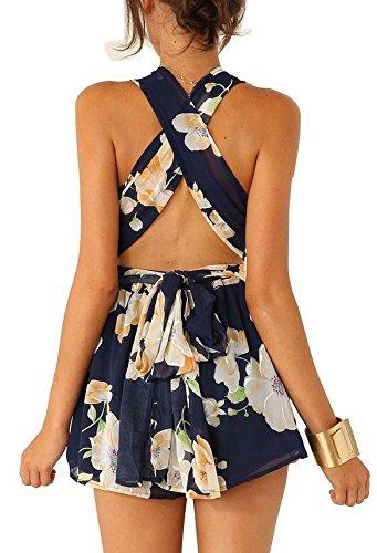 Caeasar Jumpsuit Rückenfrei Blumen ärmellos V-Ausschnitt Hohe Taille Chiffon Jumpsuit kurz Hosen Shorts Damen