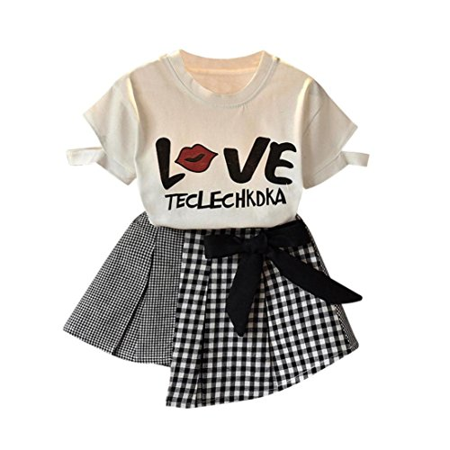 Toddler Baby Girls Summer Outfit Clothes Kids Letter Print T-Shirt Tops and Bowknot Plaid Skirt Two Piece Sets 2-7T (White, 2-3 Years Old)