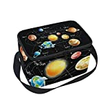Use4 Solar System Black Insulated Lunch Bag Tote Bag Cooler Lunchbox for Picnic School Women Men Kids