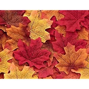 CXDY 600pcs Artificial Maple Leaves, Autumn Fall Leaves Bulk Assorted Multicolor Mixed Garland Wedding House Decorations (6 Colors, 100pcs per Color) 2