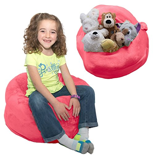 "Stuffed Animal Bean Bag Storage - ""SOFT 'n SNUGGLY"" Comfy Plush Fabric Kids Prefer Over Canvas - Replace Your Mesh Toy Hammock or Net - Store Blankets & Pillows - Stuffable Animal"