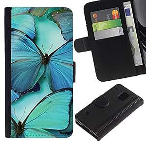 [Neutron-Star] Modelo colorido cuero de la carpeta del tirón del caso cubierta piel Holster Funda protecció Para Samsung Galaxy S5 V SM-G900 [Azul del trullo Naturaleza Insectos Ala]