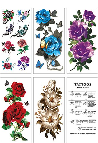Flower Temporary TattoosFake Tattoos Flower Sticker5 Large Sheets by WffDirect Color Flash Waterproof Tattoo Stickersfor Women Teens Girls