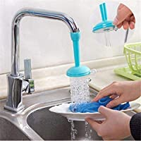 Inditradition Plastic 2 Types Water Flows, Adjustable Kitchen Sink Tap Faucet Nozzle (Blue, Large)