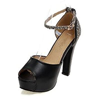 457bd21901a Summerwhisper Women s Sexy Sequined Ankle Strap Peep Toe Pumps Chunky High  Heel Platform Sandals Black 4
