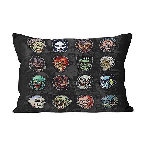 Suklly Horror Movie Monsters Halloween Masks Funny Hidden Zipper Home Decorative Rectangle Throw Pillow Cover Cushion Case 20x30 Inch Queen One Side Design Printed Pillowcase]()