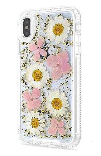 Real Flower Case Compatible iPhone Xs Max 6.5, 2 in 1 Bling Slim Dry Floral Design Full Body Drop Protection Shockproof Rugged Bumper Non-Slip Protective Clear Cover for Girls Women 2018 (Pink)