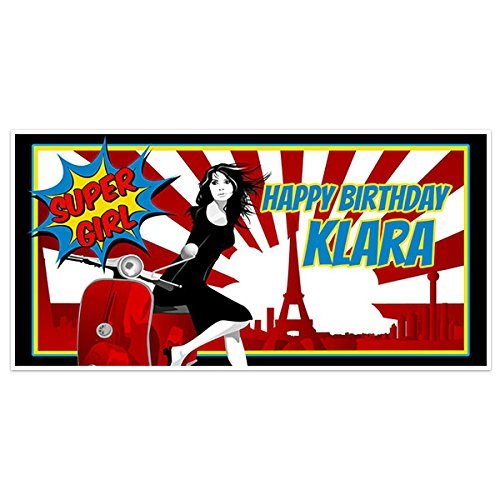 Paris Supergirl Birthday Banner Personalized Party Backdrop Decoration