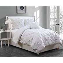 Geneva Home Fashion 4-Piece Anabelle Pinch Pleat Comforter Set, Full/Queen, White