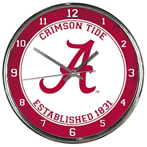 Alabama Crimson Tide NCAA 12 Inch Round Chrome Plated Wall Clock Alabama Crimson Tide Clock