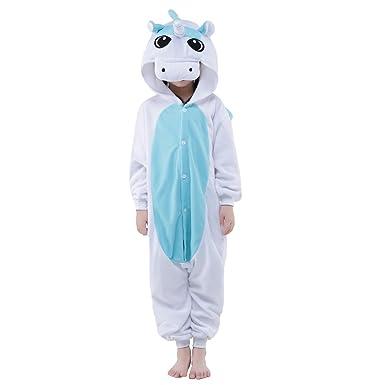 Newcosplay Unisex Animal Unicorn Children Onesie Halloween Costume Pajamas  (Blue Unicorn 979d21c21
