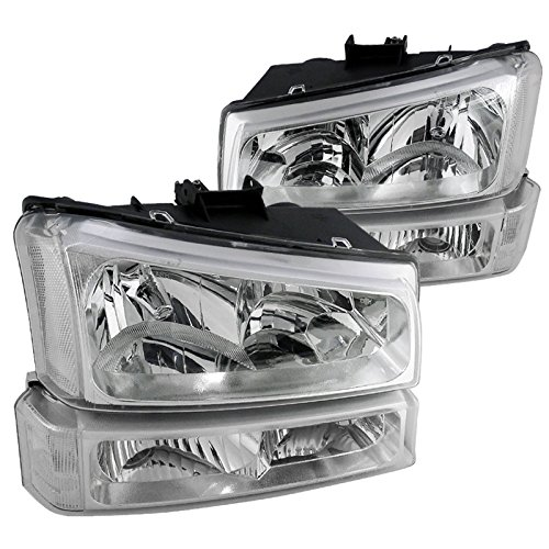 Chevy Silverado Crystal Clear Lens Headlights with Bumper - Crystal Lenses Clear