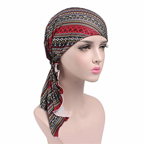 Multi Head Scarf (Women Hot Style Printing Turban Cap Chemotherapy Hat 9 Colors Bandana Headscarf Ladies Hair Accessories (6))