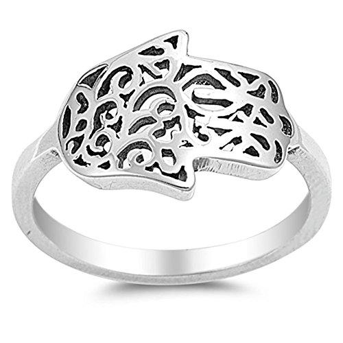 Sterling Silver Hamsa Ring - Sideways Hand of God Filigree Hamsa Ring .925 Sterling Silver Band Size 7