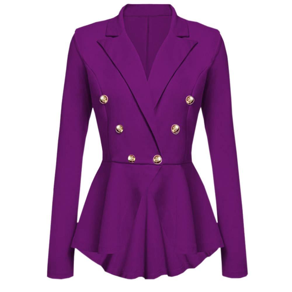 UONQD Women Long Sleeve Blazer Ruffles Peplum Button Casual Jacket Coat Outwear(Small,Purple)