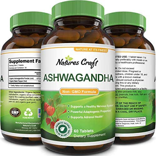 Pure Ashwagandha Extract and Root Tablets Ginseng Herbal Vitamin Complex Pill for Improved Relaxation and Better Sleep with Mood Immune Muscle Boosting Benefits Plus Memory Height and Adrenal Support