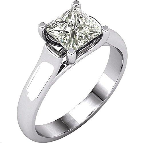 Gorgeous! Women's Princess-cut 14k White-gold 06.00MM (11/4 CT) Moissanite Solitaire Engagement Ring