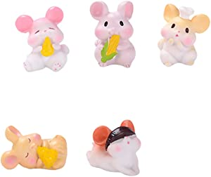 Garneck 5pcs Resin Miniature Mouse Figurines Micro Landscape Fairy Garden Decorations New Year Mouse Rat Zodiac Party Favors Gifts