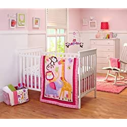 Little Bedding Tumble Jungle 4-Piece Crib Bedding Set by NoJo for girls