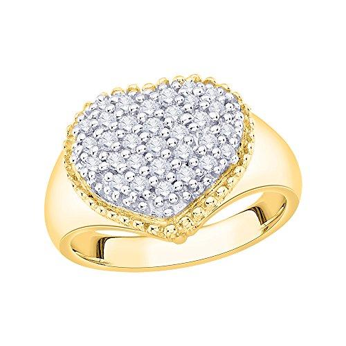 KATARINA Prong Set Cluster Diamond Heart Ring in 10K Yellow Gold (1/4 cttw, J-K, SI2-I1) (Size-10)