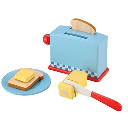 KIDS TOYLAND Play Food Set for Kids Wood Pop Up Toaster-Pretend Play  Kitchen Sets with Accessories (9 pcs)