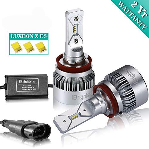 iBrightstar H11 H9 H8 LED Headlight Bulbs Conversion Kit - ZES 8,000lm 6000K Cool White - 2 Yr Warranty ()
