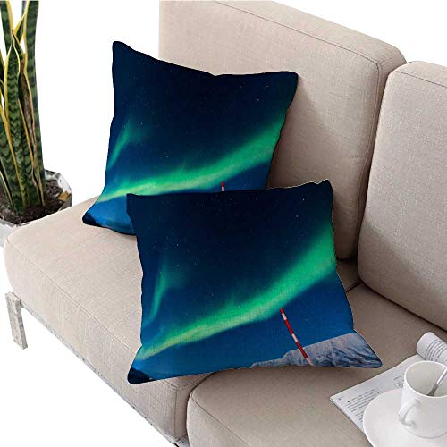 (Decorative Pillow Covers Polar Northern Lights in The Mountains of Svalbard Longyearbyen Spitsbergen Norway Wallpaper Sofa Pillow Covers W 14