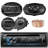 Pioneer DEH-S4100BT Car Bluetooth Radio USB AUX CD Player Receiver - Bundle with 2X TSA1670F 6.5'' 3-Way Speakers - 2 x TS-A6960F 6''x9'' 3-Way Speakers + Enrock 50Ft 18 Gauge Speaker Wire