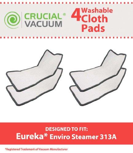 4 Eureka Enviro Floor Steamer Washable & Reusable Pads, Fit Eureka Enviro Floor Steamer 310A, 311A, 313A, Compare To Eureka Enviro Hard Floor Steam Cleaner Part # 60978, 60980, 60980A, Designed & Engineered By Crucial Vacuum (Floor Steamer Eureka compare prices)
