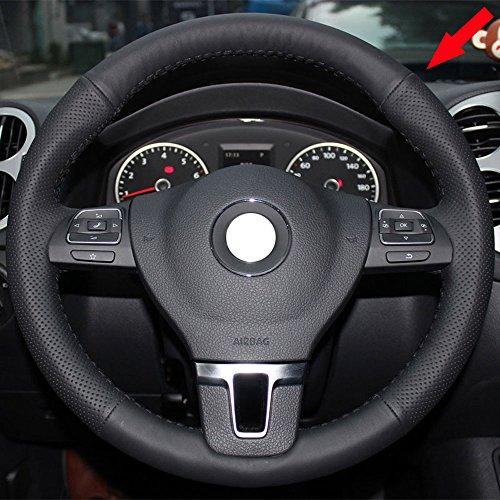 Eiseng DIY Real Genuine Leather Steering Wheel Cover for 2011-2016 Volkswagen VW Tiguan Passat 2009 2010 CC Eos Golf Jetta Sportwagen TDI SE Stitch Interior Accessories Stitch on Wrap (Black thread)