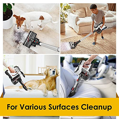 Evereze Cordless Vacuum Cleaner, Stick Vacuum Cleaner with 250W 25kPa Powerful Suction 50Mins Runtime 4 in 1 Lightweight Rechargeable Handheld for Hard Floor Carpet & Pet Hair -V30