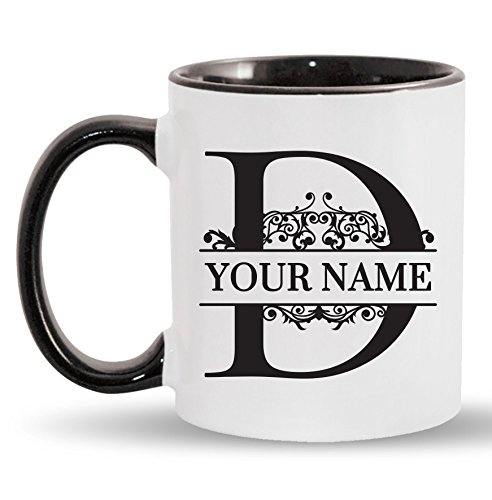 (D - Custom Monogram Coffee Mugs - ADD YOUR NAME - Personalized Ceramic Cups - 11oz)