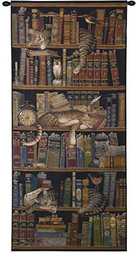 - Classic Tails by Charles Wysocki | Woven Tapestry Wall Art Hanging | Cute Sleeping Cats on Bookshelf - Fun Cat Lover's Gift | 100% Cotton USA Size 55x27