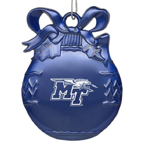 - Middle Tennessee State University - Pewter Christmas Tree Ornament - Blue