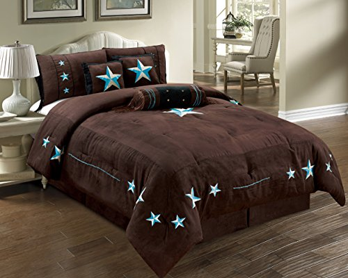 7 piece western lodge oversize king 110 x96 comforter set dark brown turquoise blue. Black Bedroom Furniture Sets. Home Design Ideas